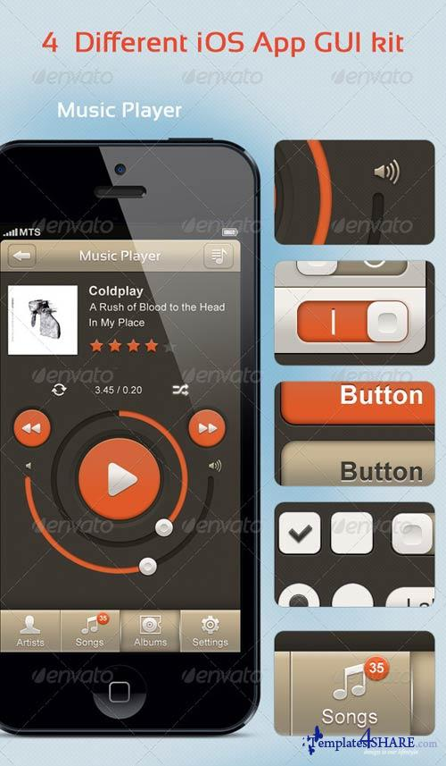 GraphicRiver 4 Different iOS App GUI kit
