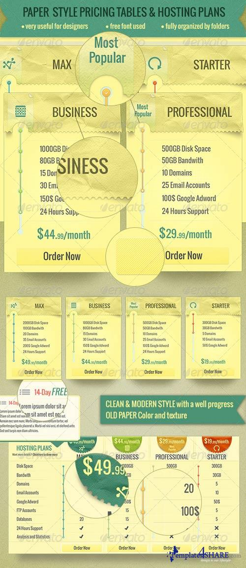 GraphicRiver Paper Style Pricing Tables and Hosting Plans