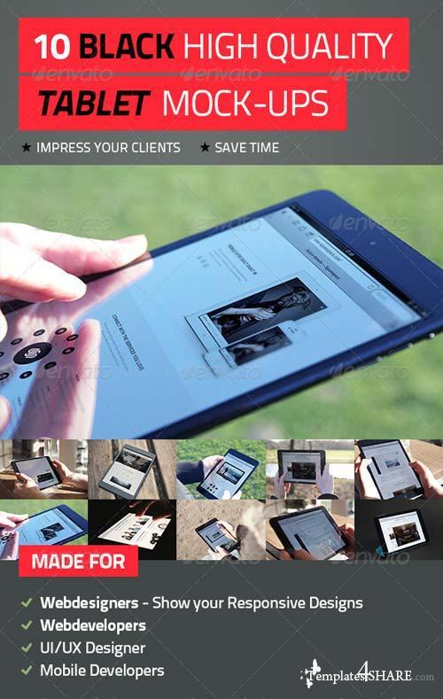 GraphicRiver 10 Black High Quality Tablet Mock-Ups