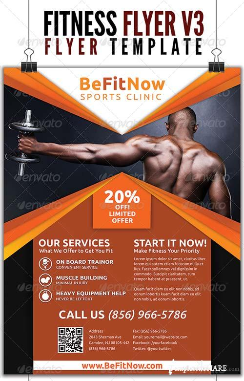 Graphicriver fitness flyer v3 free for Fitness brochure template