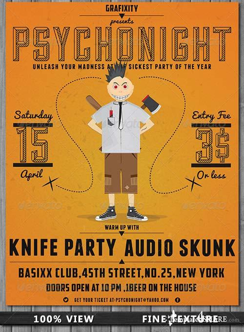 GraphicRiver PsychoNight - Vintage/Retro Poster