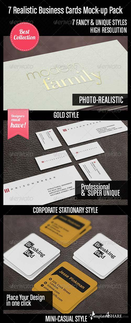 GraphicRiver 7 Realistic Business Cards Mock-up Pack
