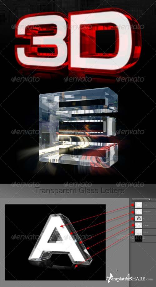 GraphicRiver Transparent Glass Glow Letters