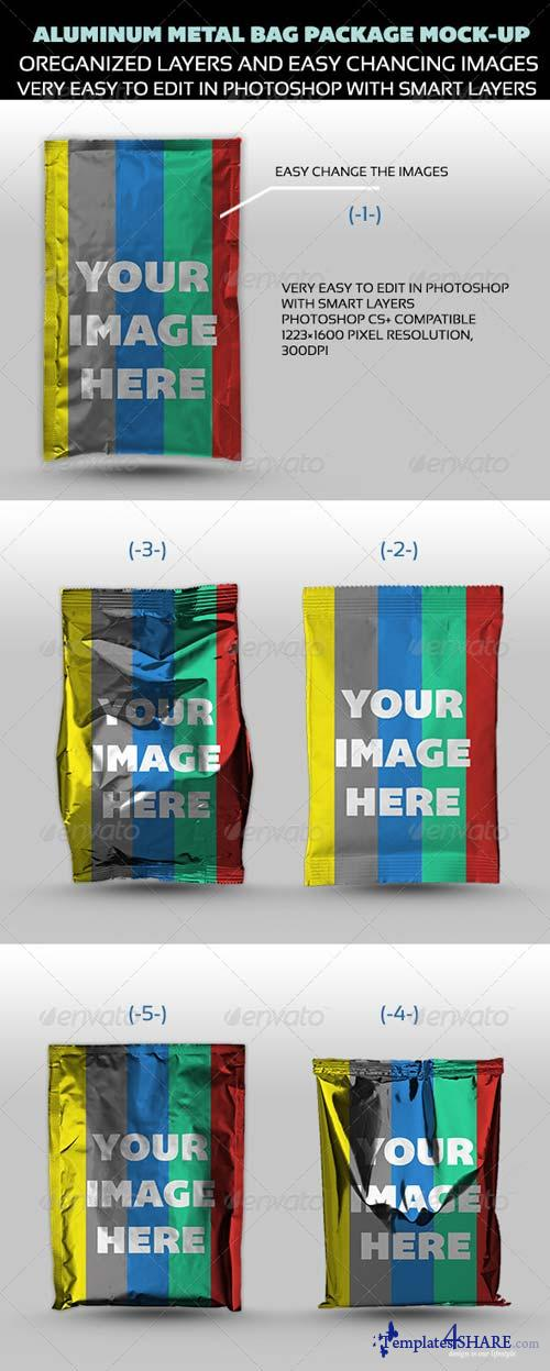 GraphicRiver Aluminum Metal Bag Package Mock-up