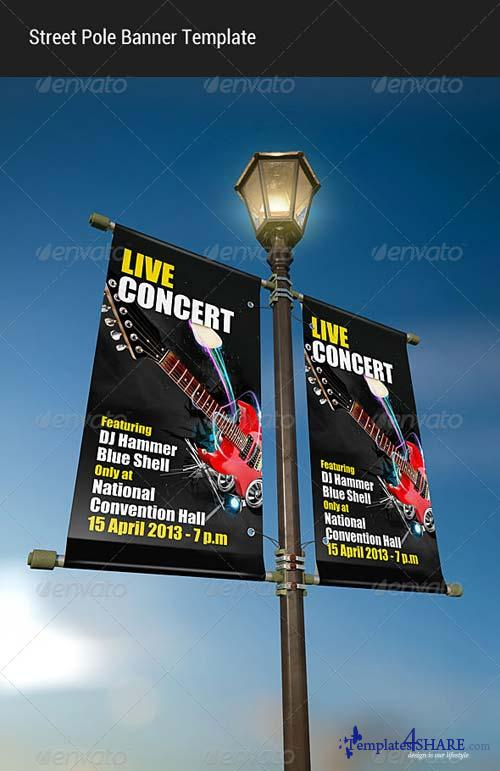 GraphicRiver Street Pole Banner Mock-up