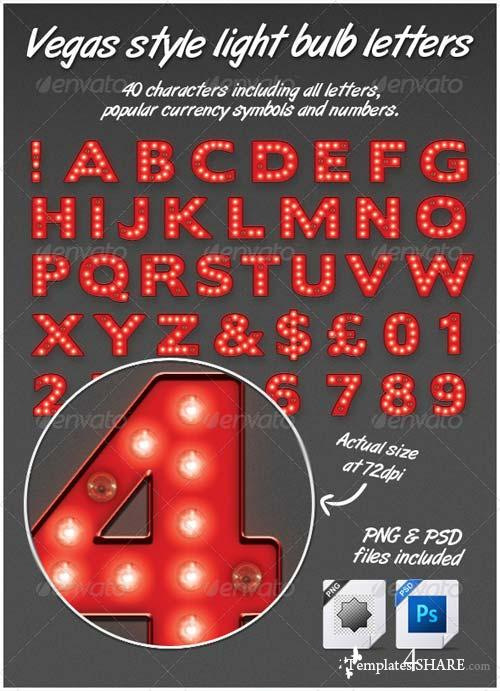 GraphicRiver Vegas Casino Style Light Bulb Letters