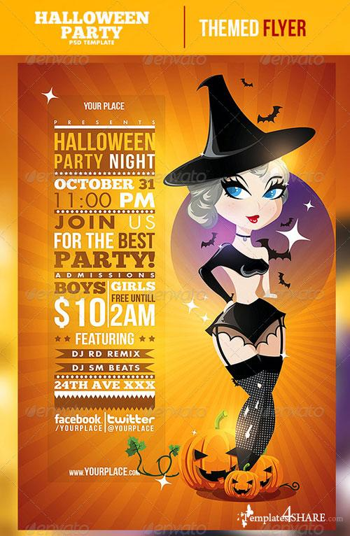 GraphicRiver Pinup Halloween Night Flyer Template