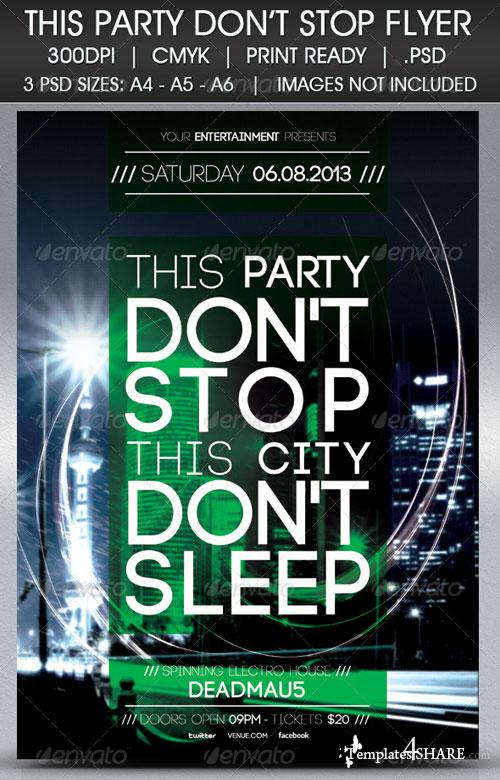 GraphicRiver Party Don't Stop Flyer