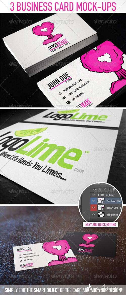 GraphicRiver 3 Business Card Mock-Ups