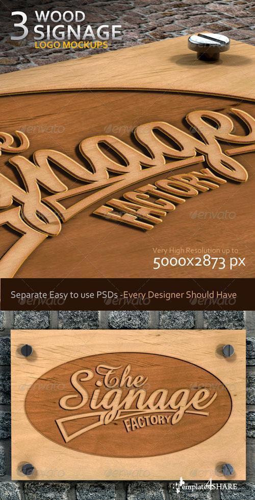 GraphicRiver 3 Wood Signage Logo Mock-Ups