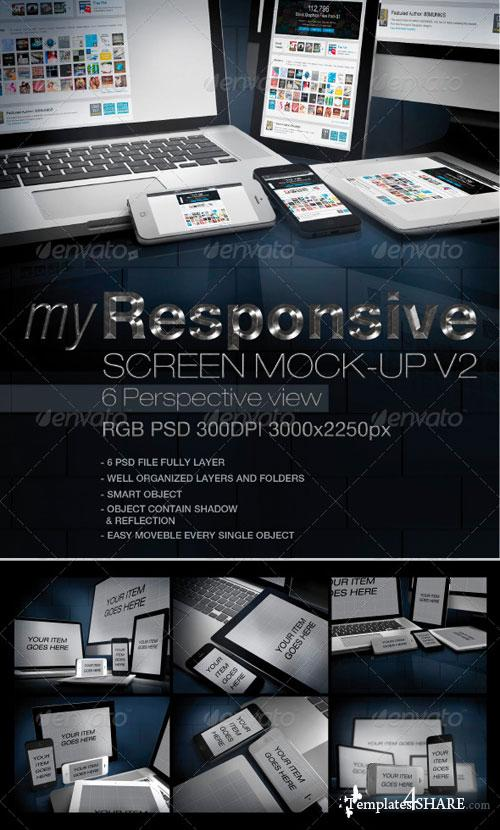 GraphicRiver myResponsive screen mock-up V2
