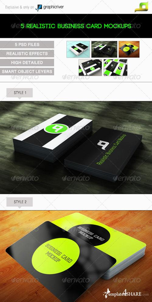 GraphicRiver 5 Realistic Business Card Mock-Ups