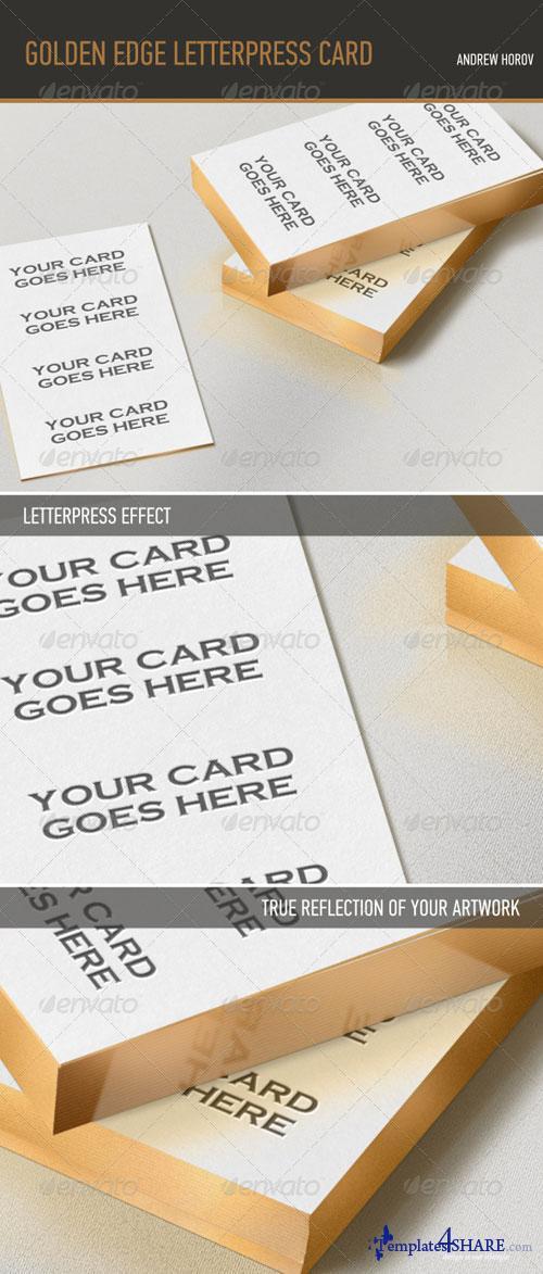 GraphicRiver Gold Edge Letterpress Bcard Mock-up