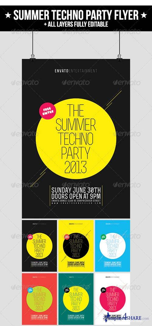 GraphicRiver Summer Techno Party Flyer