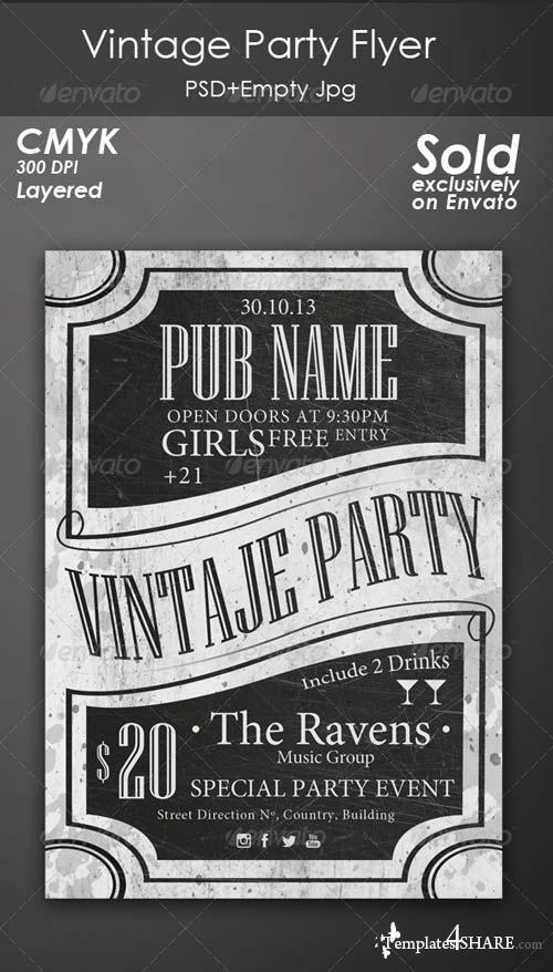 GraphicRiver Vintage Party Flyer 4718432