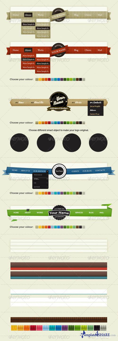 Graphicriver Bundle of Navigation & Borders. Vol 3