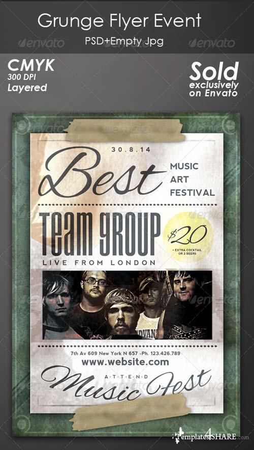 GraphicRiver Grunge Flyer Concert