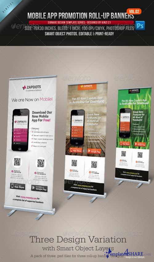GraphicRiver Mobile App Promotion Roll-up Banners Vol.02