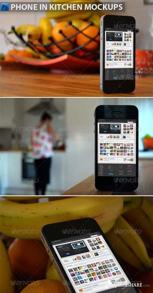 GraphicRiver Phone in Kitchen Mock-Ups