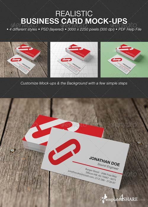 GraphicRiver Realistic Business Card Mock-Ups 4825489
