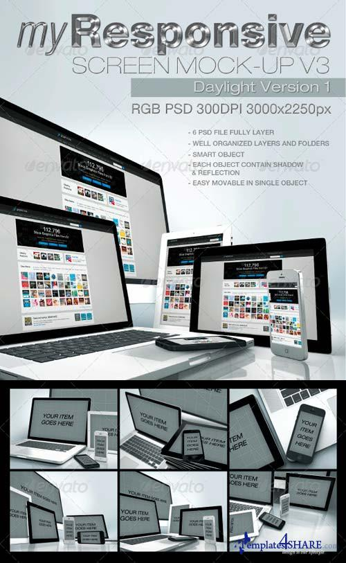 GraphicRiver myResponsive Screen Mock-Ups v3