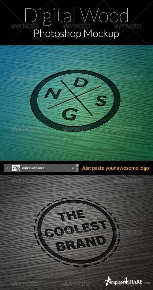 GraphicRiver Logo Mock-Up Digital Wood Pack