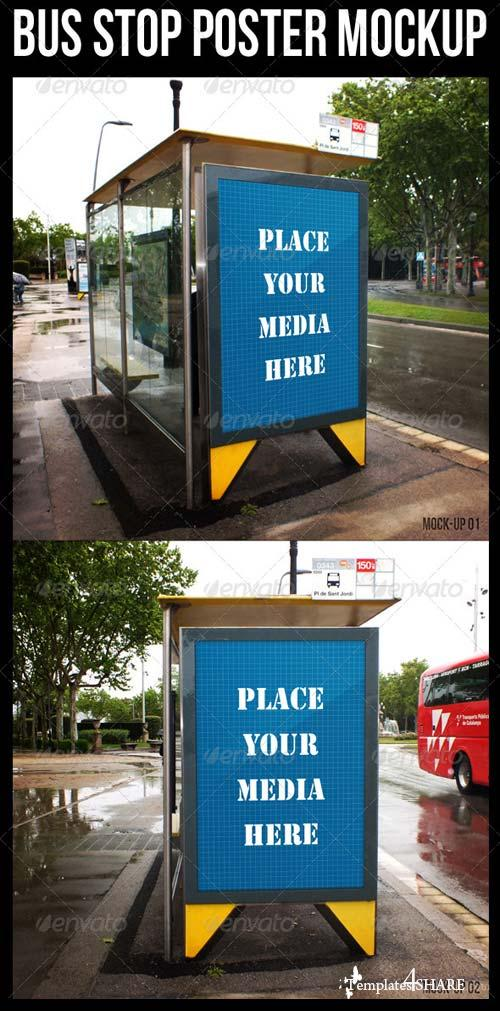 GraphicRiver Bus Stop Poster Mockup