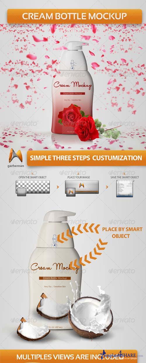 GraphicRiver Cream Bottle Mockup