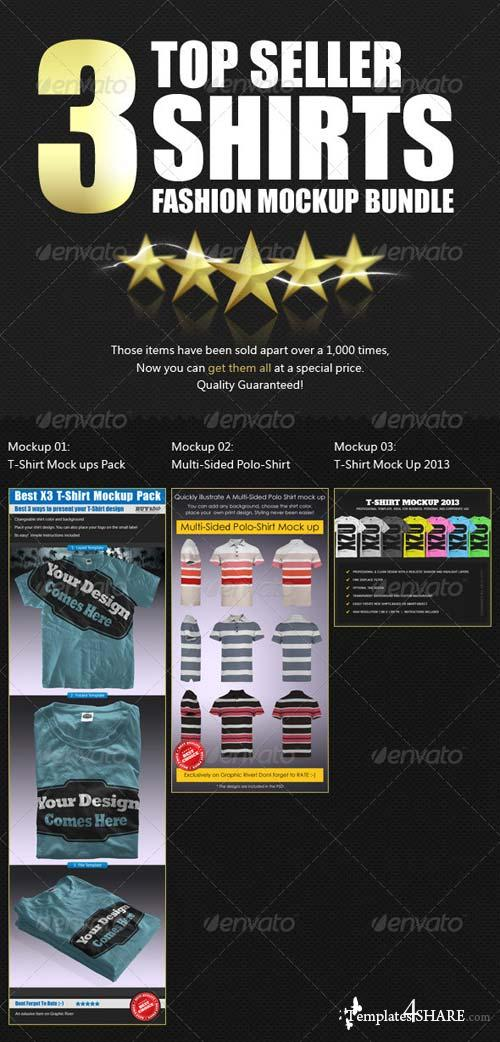 GraphicRiver x3 Top Seller Shirt Mockups Bundle