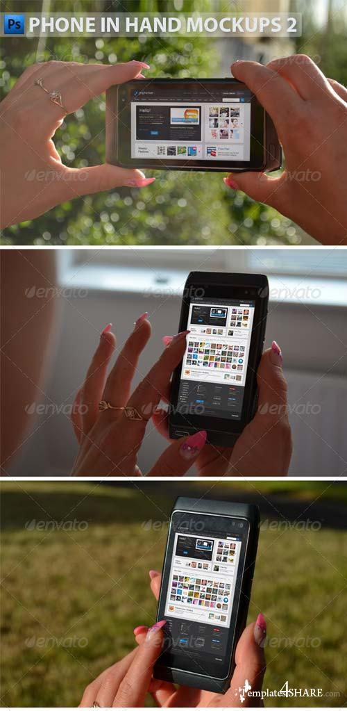 GraphicRiver Black Phone in Hand Mock-Ups 2