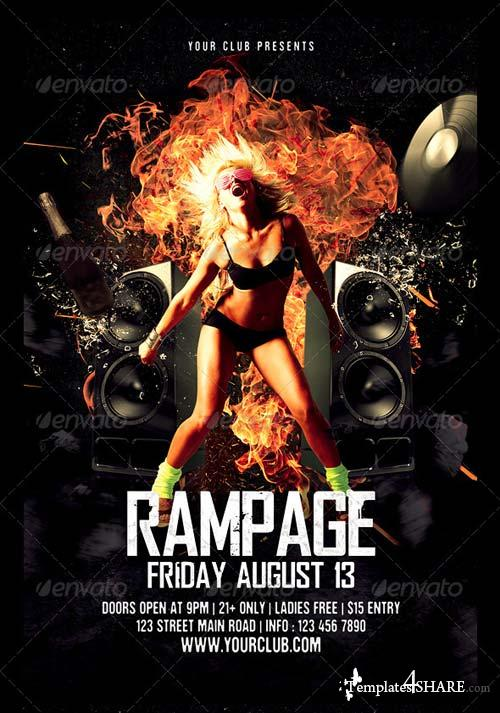GraphicRiver Rampage / Hot Night / Rock Music Party Flyer