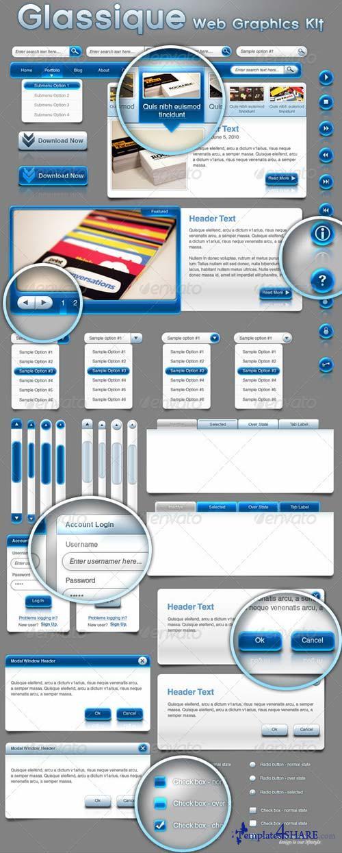 GraphicRiver Glassique Blue Web Graphics Kit