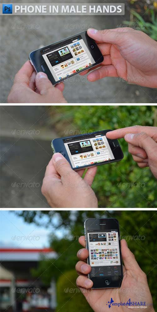 GraphicRiver Black Phone in Male Hands