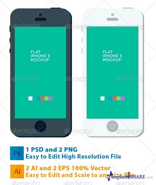 GraphicRiver Phone 5 Flat Mockup