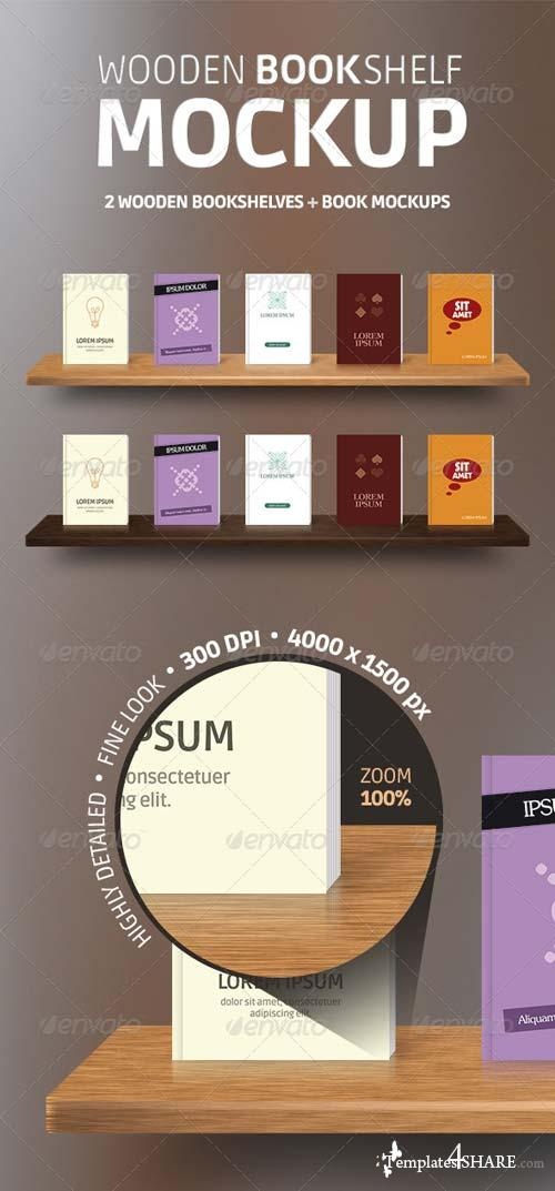 GraphicRiver Wooden Bookshelves + Book Mockup PSD