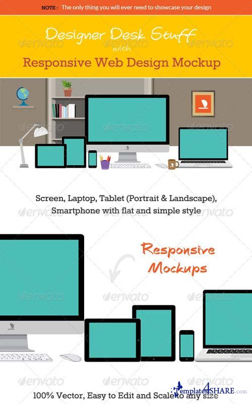 GraphicRiver Designer Desk with Responsive Design Mockup