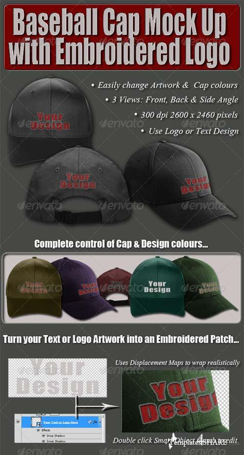 GraphicRiver Baseball Cap Mock Up with Embroidered Logo