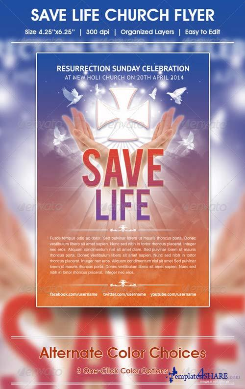 GraphicRiver Save Life Church Flyer Template