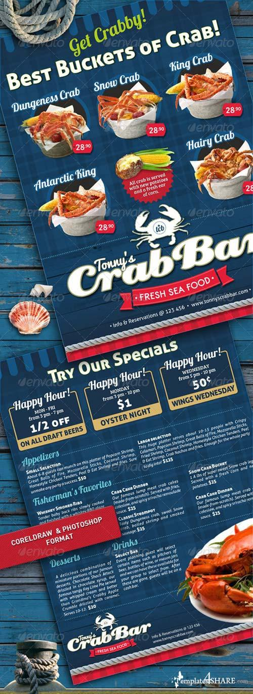 GraphicRiver Crab Bar Menu Flyer Template