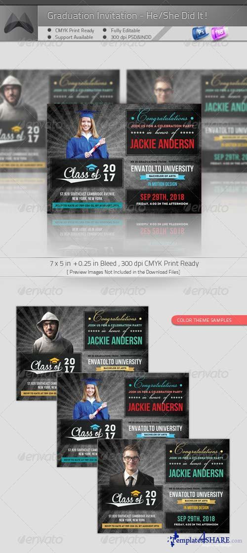 GraphicRiver Graduation Announcement - He/She Did It