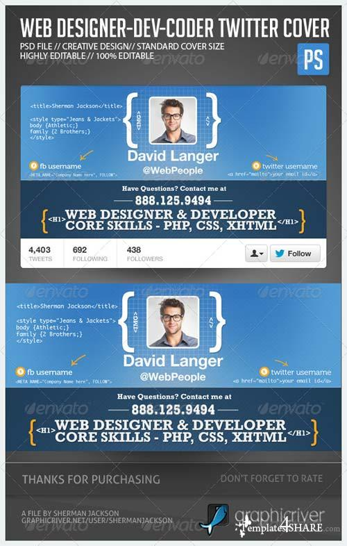 GraphicRiver Web Designer Developer Coder Twitter Header Photo