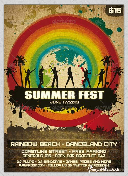 GraphicRiver Grunge Summer Fest Flyer