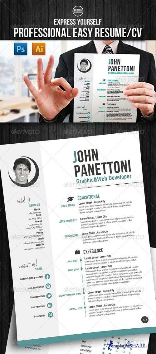 graphicriver professional easy resume  cv  u00bb templates4share com