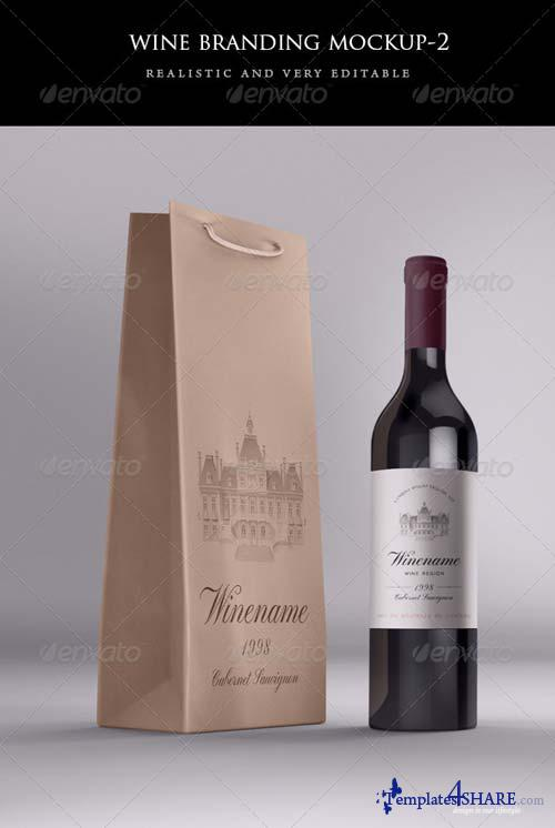 GraphicRiver Wine Bag and Bottle Mock-up