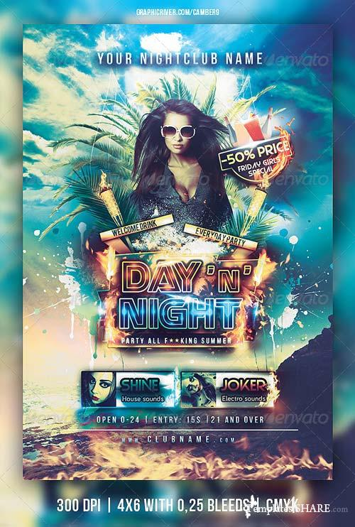 GraphicRiver Day and Night party flyer