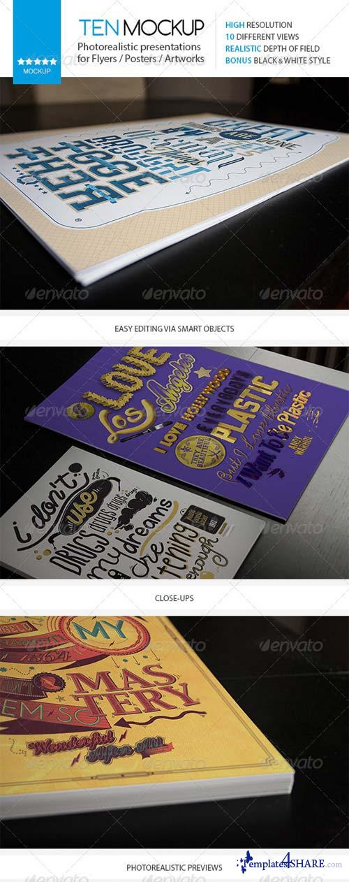 GraphicRiver 10 Realistic Flyer/Poster/Artwork Mockups Pack