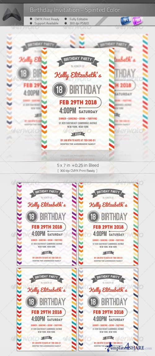 GraphicRiver Birthday Invitation - Spirited Color