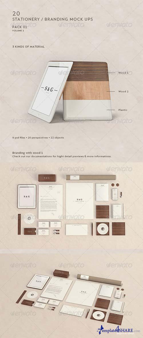 GraphicRiver Stationery / Branding Mock-Up - Woods & Plastic