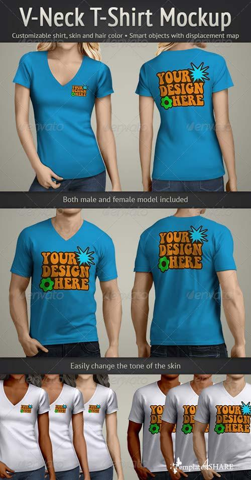 GraphicRiver V-Neck T-Shirt Mockup