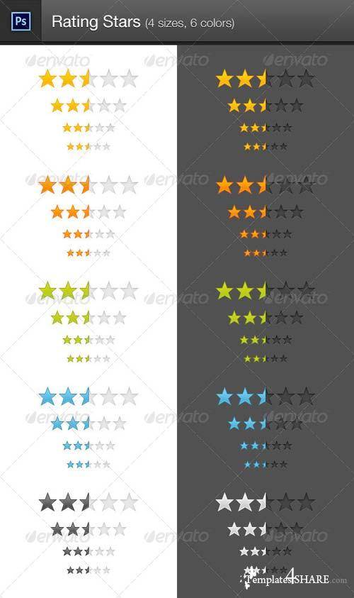 GraphicRiver Rating Stars (4 sizes, 6 colors)